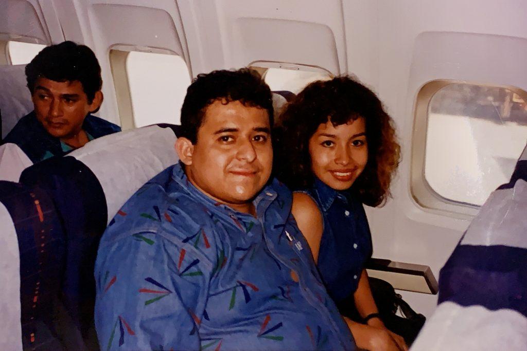 Oscar and Karen Rodriguez on an airplane heading to Canada. \OSCAR RODRIGUEZ