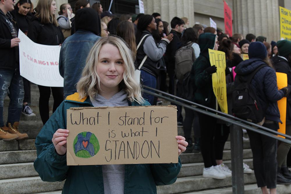 Climate strike protestor in Winnipeg, Manitoba