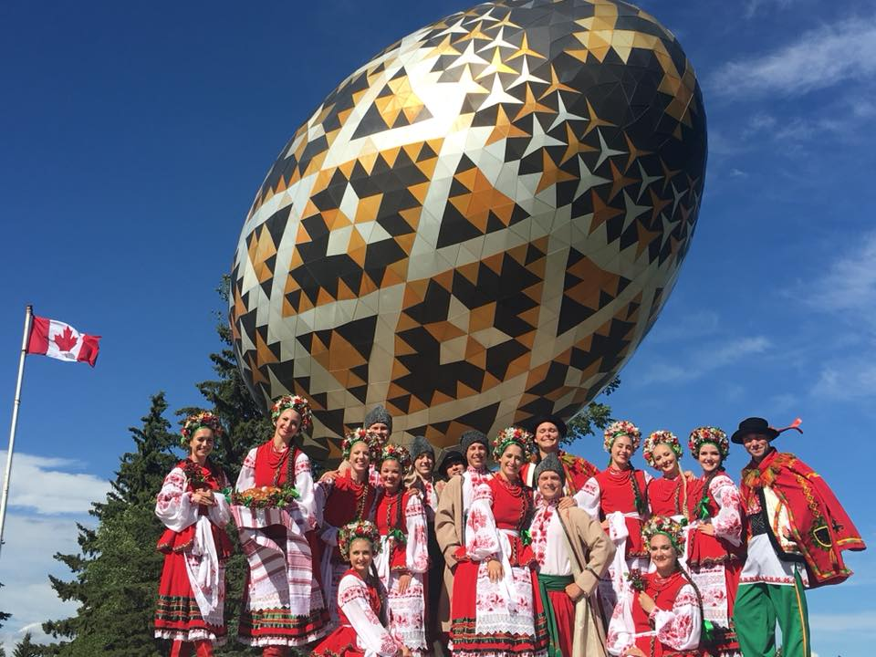A photo of me and Rusalka in front of the Vegreville egg.
