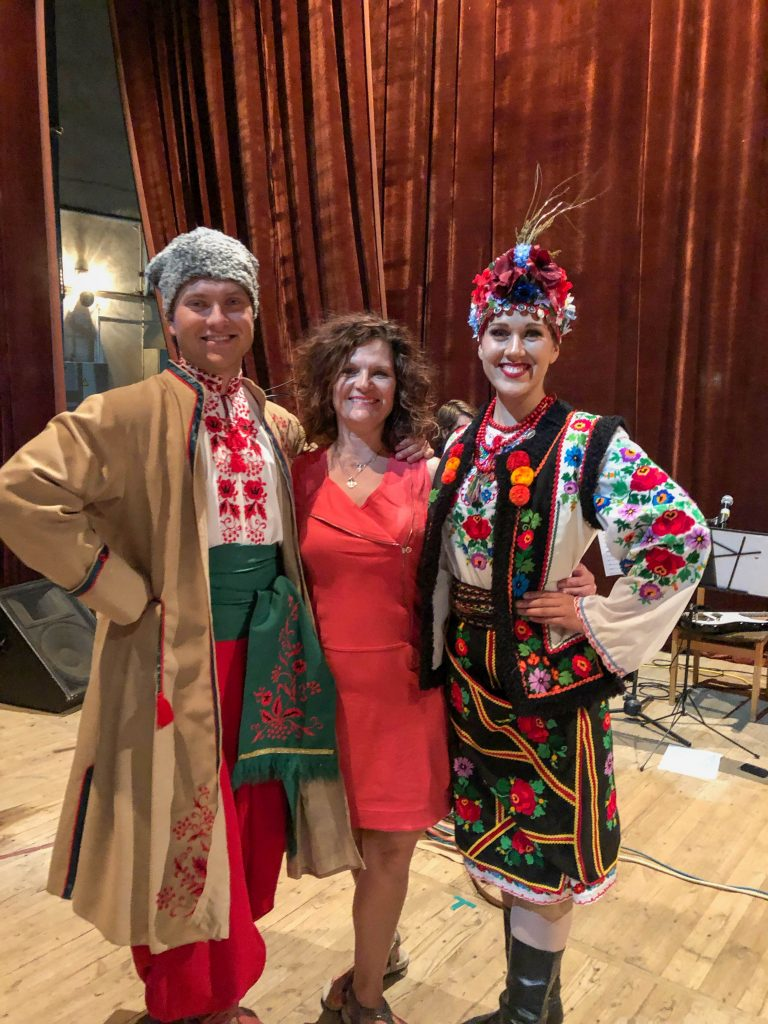 Alexander, my mama and Orycia before our show in Truskavets, 2019