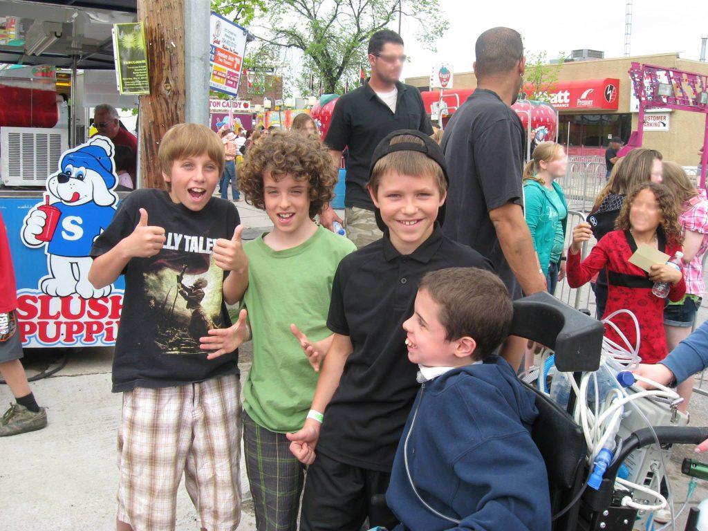 Garrett LeBlanc, Logan Shaw, Nik Kowalski, and Robin Shaw at the Hi Neighbour Festival.