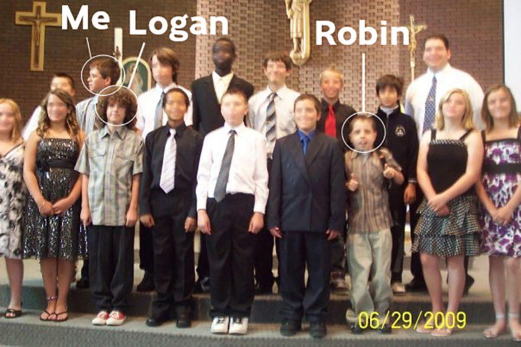 Robin and Logan Shaw and I graduating grade six.