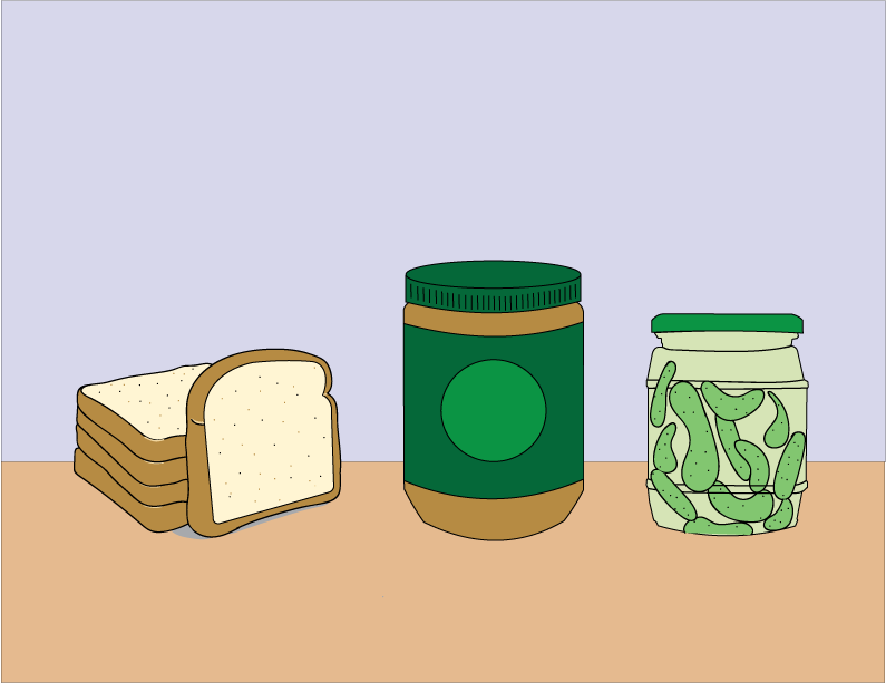 An illustration of a half-loaf of bread stacked beside a jar of peanut butter and a jar of pickles.