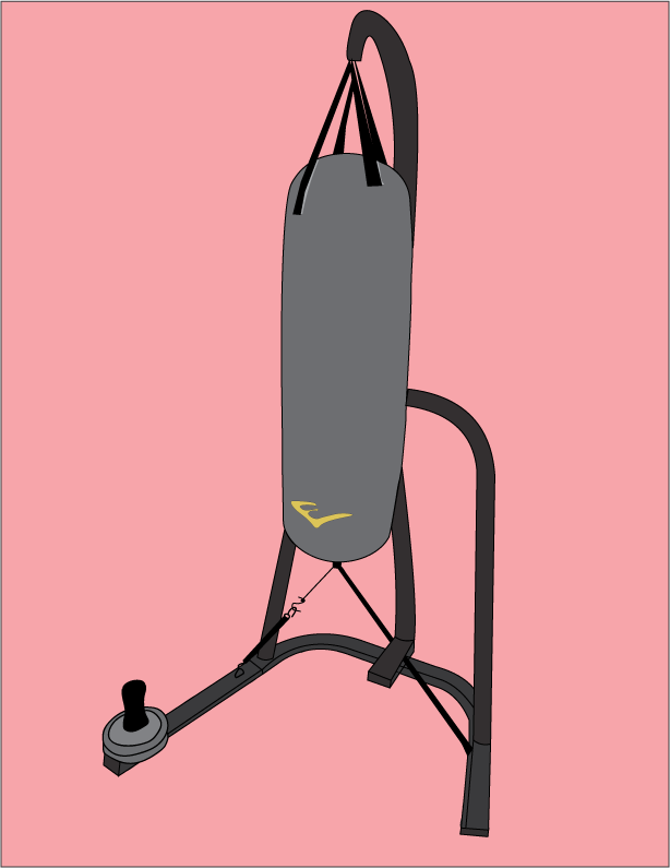 An illustration of a black punching bag hung by black metal posts.