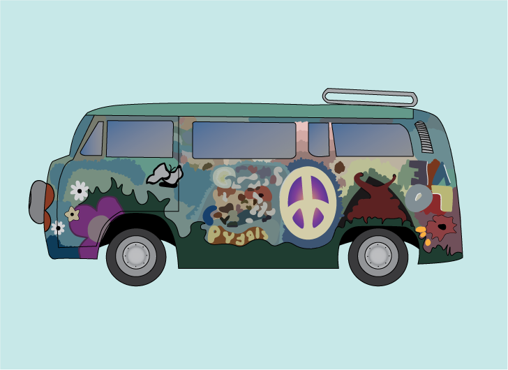 An illustration of a Volkswagen bus painted with vibrant colours throughout, featuring flowers, a butterfly, the word LOVE, and a peace sign.