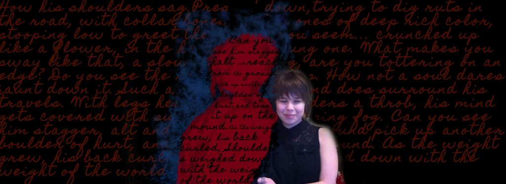 Brianne posing with her abuser scribbled out in red and blue. Her old journal entries written both across his shape and the black background
