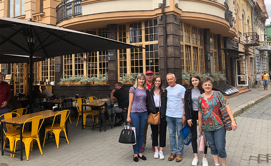 A photo of me and my aunts, uncles and cousin in Ukraine.