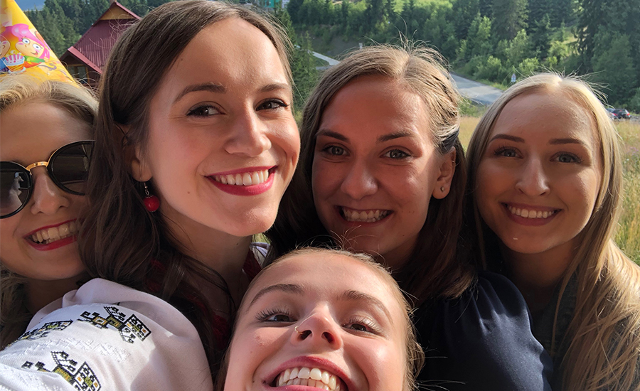 A selfie of me with friends from Rusalka on our recent trip to Ukraine.
