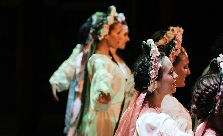 A photo of me and Rusalka ladies performing a spring dance in Ukraine.