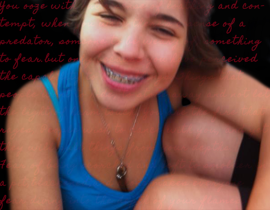 Brianne smiling at the camera when she had braces, background blacked out with her old journal entries written in red.