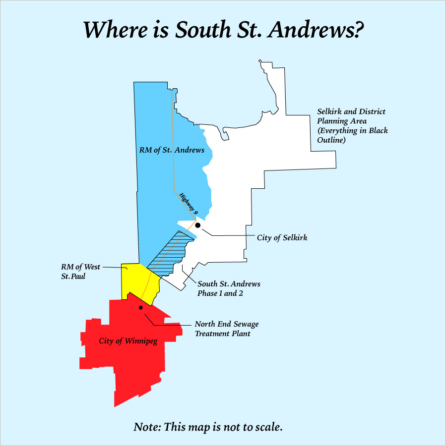 A map showing South St. Andrews in relation to Selkirk, West St. Paul and Winnipeg.