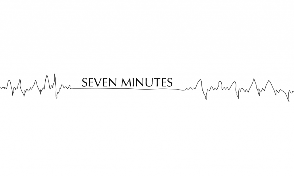 "an echocardiogram showing a heart beat that flatlines and comes back, with the words ""seven minutes"" above where the heart beat flatlines."