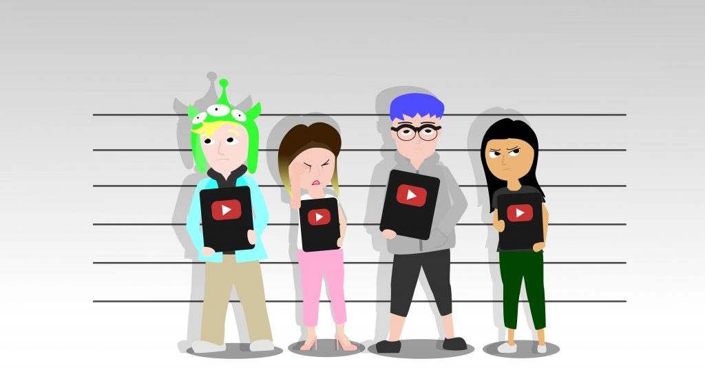 """Logan Paul, Laura Lee, Sam Pepper, and Brooke Houts hold up their """"YouTube play buttons"""" as they get their mugshots taken."""